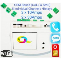 GSM + WIFI SWITCHES 5 CHANNELS / NODES  2 x 20 Amp & 3 x 10 Amp Each WITH HEAVY DUTY PLUGIN CONNECTORS