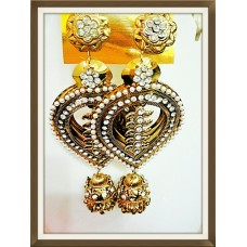 G DESIGNER EAR HANGING BRONZE & GOLD COLOR WITH GLASS TOUCH FOR LADIES WOMEN
